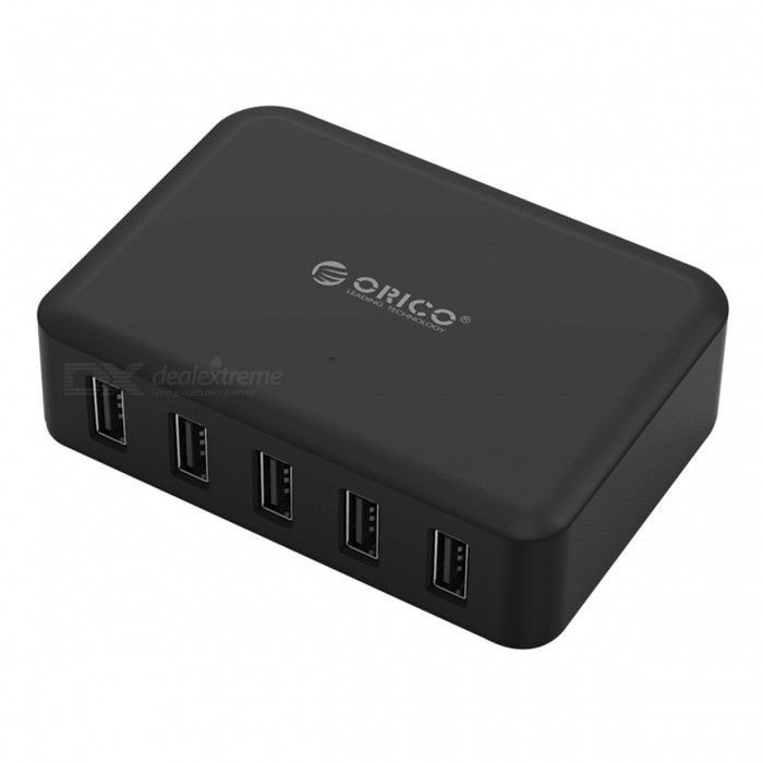 ORICO 5 Port 8A 40W USB Travel Charger - Black (US Plug)USB Hubs &amp; Switches<br>Form  ColorBlack (US Plug)ModelDCAP-5SQuantity1 pieceMaterialABSShade Of ColorBlackIndicator LightYesPort Number5With Switch ControlOthers,N/AInterfaceUSB 2.0Transmission RateOthers,N/A bpsPowered ByAC ChargerSupports SystemOthers,N/APacking List1 x ORICO 5-Ports USB Super Charger   1 x Detachable Power Cord<br>