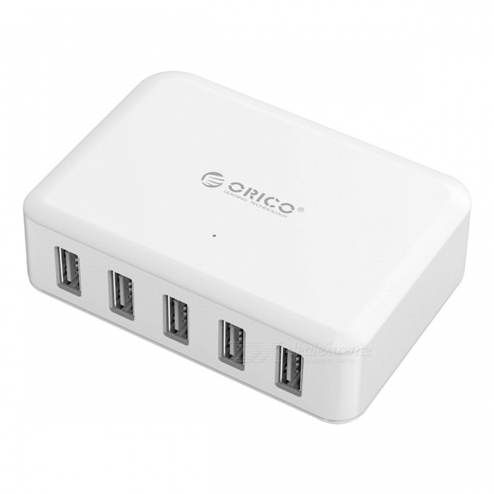 ORICO 5 Port 8A 40W USB Travel Charger - White (EU Plug)USB Hubs &amp; Switches<br>Form  ColorWhite (EU Plug)ModelDCAP-5SQuantity1 pieceMaterialABSShade Of ColorWhiteIndicator LightYesPort Number5With Switch ControlOthers,N/AInterfaceUSB 2.0Transmission RateOthers,N/A bpsPowered ByAC ChargerSupports SystemOthers,N/APacking List1 x ORICO 5-Ports USB Super Charger   1 x Detachable Power Cord<br>