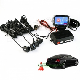 4Pcs Car Parking Sensor Kit with LED Display - Black