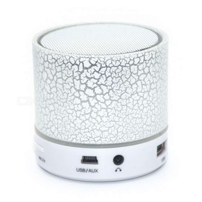 LED Portable Mini Bluetooth Speakers Wireless Hands Free - White