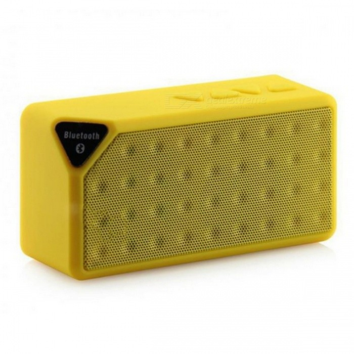 Fashion Mini Bluetooth Speaker X3 USB TF Slot Wireless - YellowBluetooth Speakers<br>Form  ColorYellowModelX3MaterialPlasticQuantity1 pieceShade Of ColorYellowBluetooth HandsfreeYesBluetooth VersionBluetooth V2.1Operating Rangeup to 10mTotal Power3 WInterface3.5mm,USB 2.0MicrophoneYesImpedance4 ohmApplicable ProductsUniversalSupports Card TypeMicroSD (TF)Built-in Battery Capacity 600 mAhPacking List1 x X3 Wireless Bluetooth Speaker1 x USB Power Cable1 x Audio Cable1 x Bilingual User Manual in English and Chinese<br>