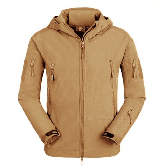 Waterproof Soft Shell Tactical Jacket - BrownForm  ColorBrownSizeXXLModelN/AQuantity1 DX.PCM.Model.AttributeModel.UnitMaterialPolyesterShade Of ColorBrownSeasonsAutumn and WinterGenderMensShoulder Width58 DX.PCM.Model.AttributeModel.UnitChest Girth130 DX.PCM.Model.AttributeModel.UnitSleeve Length65 DX.PCM.Model.AttributeModel.UnitTotal Length80 DX.PCM.Model.AttributeModel.UnitSuitable for Height185-190 DX.PCM.Model.AttributeModel.UnitBest UseRunning,Camping,Mountaineering,Others,HuntingSuitable forAdultsPacking List1 x Tactical Jacket<br>