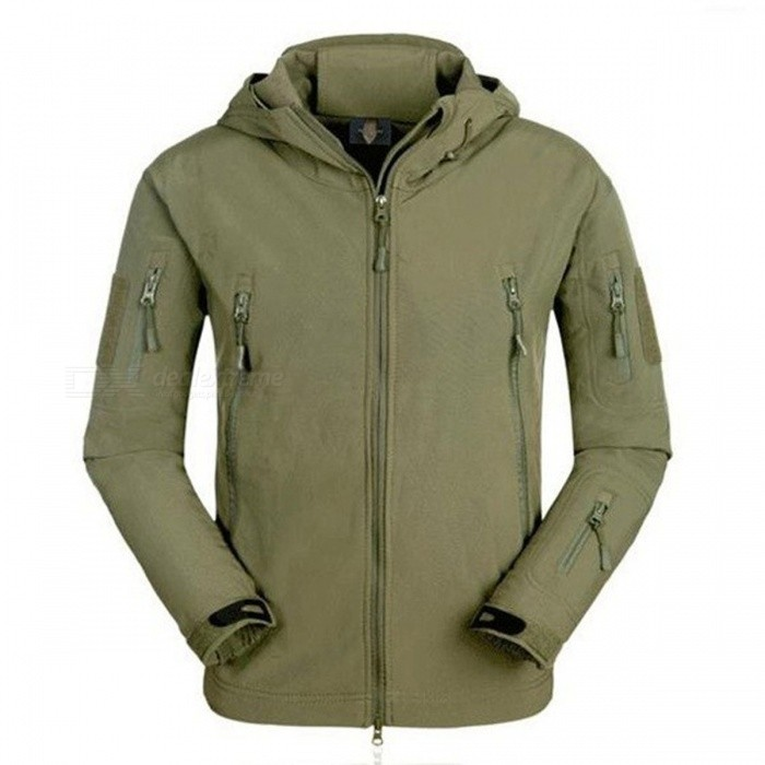 Oudoor Sports Waterproof Soft Shell Tactical Jacket - Army GreenForm  ColorArmy GreenSizeLModelN/AQuantity1 DX.PCM.Model.AttributeModel.UnitMaterialPolyesterShade Of ColorGreenSeasonsAutumn and WinterGenderMensShoulder Width54 DX.PCM.Model.AttributeModel.UnitChest Girth120 DX.PCM.Model.AttributeModel.UnitSleeve Length63 DX.PCM.Model.AttributeModel.UnitTotal Length76 DX.PCM.Model.AttributeModel.UnitSuitable for Height175-180 DX.PCM.Model.AttributeModel.UnitBest UseRunning,Camping,Mountaineering,Others,huntingSuitable forAdultsPacking List1 x Tactical Jacket<br>