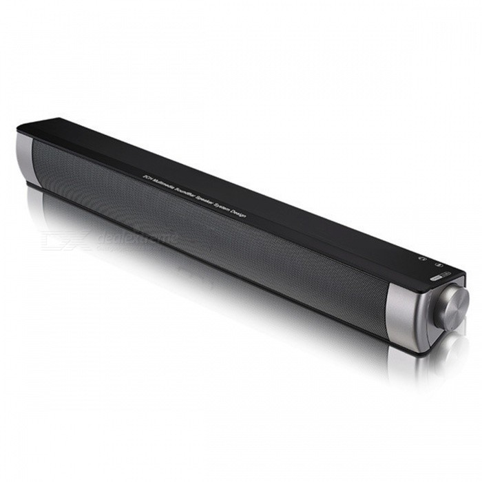 Wireless Speaker Soundbar Portable Bluetooth Speaker - BlackBluetooth Speakers<br>Form  ColorBlackMaterialPlasticQuantity1 pieceShade Of ColorBlackBluetooth HandsfreeYesBluetooth VersionBluetooth V3.0Operating Range10mTotal Power10 WChannels2.0Interface3.5mmMicrophoneYesSNR75dBFrequency Response100Hz-18kHzApplicable ProductsUniversalRadio TunerNoSupports Card TypeMicroSD (TF)Max Extended Capacity32GBBuilt-in Battery Capacity 1500 mAhBattery TypeLi-ion batteryMusic Play Time5-8 hourPacking List1 x Speaker<br>
