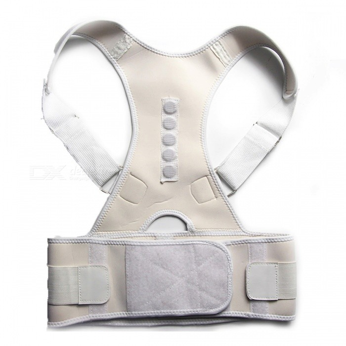 Back Posture Correction Belt - White (L)Form  ColorWhite (L)ModelLMaterialCotton + ABSQuantity1 pieceShade Of ColorWhiteDisplayNoControl ModeNoTarget PositionShoulder BackPhysical therapy functionMagnetic Therapy Posture Corrector Brace Shoulder Back Support Belt for Men Women Braces &amp; Supports Belt Shoulder PosturePower SupplyOthers,NoPower AdapterOthers,NOPacking List1 x Brace<br>