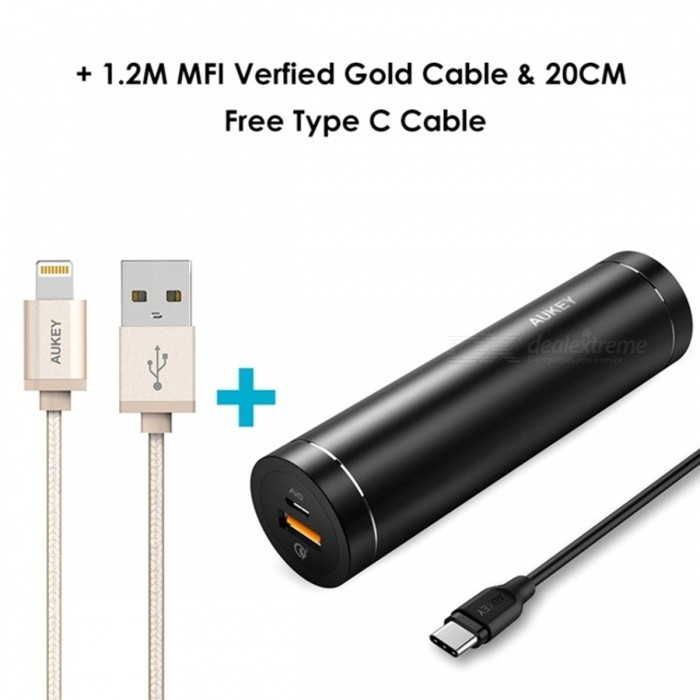 AUKEY 5000mAh Power Bank w/ USB C / 1.2M Lightning Cable - Black+GoldMobile Power<br>Form  ColorBlack1.2M Gold Lightning Cable)ModelPB-T12Quantity1 setMaterialABSShade Of ColorBlackCompatible ModelsOthers,smartphonesCompatible TypeUniversalBattery TypeLi-polymer batteryBuilt-in Battery ModelOthers,Li-polymer BatteryVoltage5 VCapacity Range4001mAh~5000mAhNominal Capacity5000 mAhInputDC 5V 2.4AOutput interface, output current, output voltageQC 3.0&amp; AiPower : DC 5V-6.5V/3A, 6.5V-9V/2A, 9V-12V/1.5ACharging TimeN/A hourWorking TimeN/A hourQuick Charge3.0FeaturesOthers,N/ACertificationFCC,RoHS,CEPacking List1 x Power Bank1 x Type-C cable1 x 1.2M Gold Lightning cable1 x Manual<br>