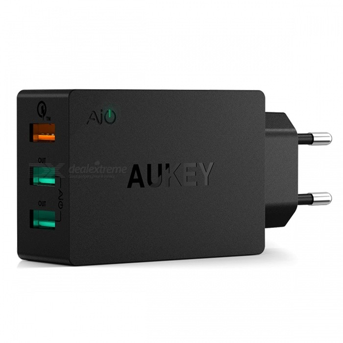 AUKEY PA-T2 Wall Charger Quick Charge 2.0 w/ 3-Port USB - Black (EU)AC Chargers<br>Form  ColorBlack EUModelPA-T2MaterialPCQuantity1 setCompatible ModelsIPHONE, IPAD, Android, Samsung Galaxy, etc.Input VoltageAC100~240 VOutput Current5V/2A, 9V/2A, 12V/1.5 AOutput Power42 WOutput Voltage5~12 VSplit adapter number3Power AdapterEU PlugQuick Charge2.0LED IndicatorNoCable Length100 cmCertificationFCC,CE,RoHSPacking List1 x 3 ports charger                                         1 x Manual1 x Micro USB cable (Length: Approx.1m)<br>
