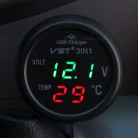 Multifunction 3 in 1 USB Car Charger Voltmeter Thermometer - Blue, Red