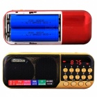 C-25 Portable Digital Pocket FM Radio Mini MP3 Player Speaker - Red
