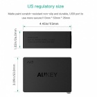 AUKEY PA-U36 4-port USB Travel Wall Charger-Svart (US Plug)