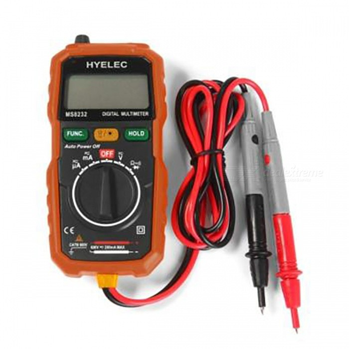 HYELEC MS8232 Non-Contact Mini Digital MultimeterMultimeters<br>Form  ColorOrangeModelMS8232Quantity1 pieceMaterialABSShort Curcuit BuzzYesAuto Power OffYesPowered ByAAA BatteryBattery Number2Battery included or notNoPacking List1 x MS8232 Non-contact Multimeter 1 x English User Manual<br>