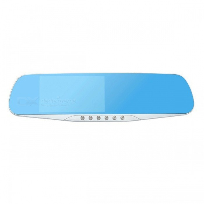 Night Vision Car DVR Camera Blue Rearview Mirror - 1 Lens / 16GBCar DVRs<br>Form  ColorOne Camera Lens - Kingston16GBModel-Quantity1 setMaterialABSChipsetOthers,N/AOther FeaturesOthers,N/AWide Angle170°-189°Camera Lens1Image SensorCMOSImage Sensor SizeOthersCamera PixelOthers,1200MegaExternal Camera PixelOthersWide AngleOthers,170°Screen TypeOthersScreen SizeOthers,4.3 inch HD ScreenVideo FormatAVIDecode FormatH.264Video ResolutionOthers,1920x1080Video Frame Rate30ImagesJPEGStill Image ResolutionOthers,N/AMicrophoneYesMotion DetectionYesAuto-Power OnYesLED QtyOthers,5IR Night VisionYesG-sensorYesLoop RecordOthersDelay ShutdownYesTime StampYesMax. Capacity32GBStorage ExpansionTFAV InterfaceOthers,AV-INData interfaceOthers,N/AWorking Voltage   12 VMenu LanguageOthers,Chinese, English, Russian, French, German, Italian, Korean, Portuguese, SpanishPacking List1 x Car DVR<br>