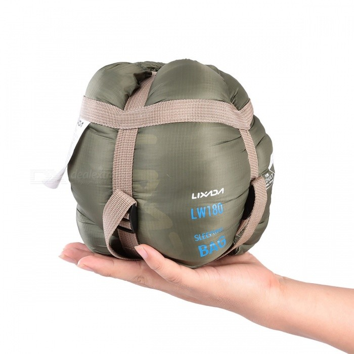 Mini Ultralight Multifunctional Envelope Sleeping Bag - Army GreenSleeping Bags<br>Form  ColorArmy GreenModelN/AQuantity1 pieceBest UseFamily &amp; car camping,CampingSeasonsOthers,Spring, Autumn, WinterMaterialNylon + PolyesterSleeping Bag ShapeOthers,Envelope Sleeping BagTemperature Rating 9(limit) ~ 15(comfort) ?Packing List1 x Sleeping Bag1 x Compression Stuff Sack<br>