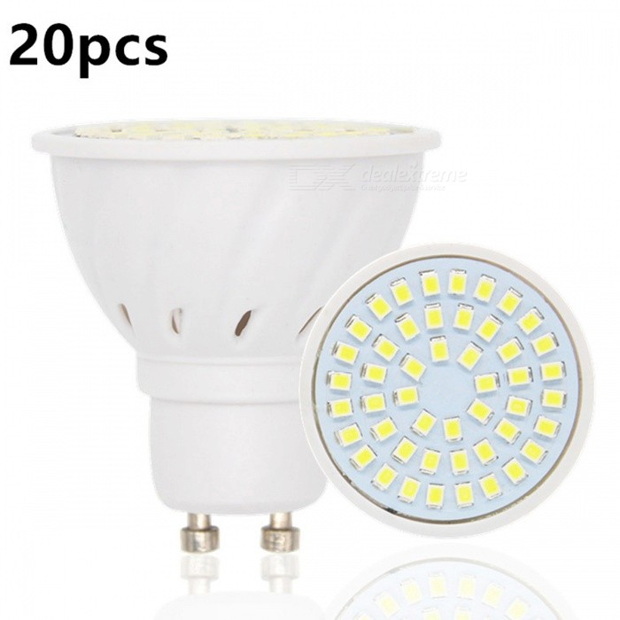 20Pcs/Lot GU10 48-SMD 2835 Cold White LED Light BulbsGU10<br>Color BINCold White - 48LEDMaterialPlasticForm  ColorWhiteQuantity20 piecesPower4WRated VoltageAC 220 VConnector TypeGU10Actual Lumens495 lumensChip BrandEpistarEmitter TypeLEDTotal Emitters48Color Temperature12000K,Others,6000-6500KDimmableNoBeam Angle60 °Packing List20 x Led  Bulbs<br>