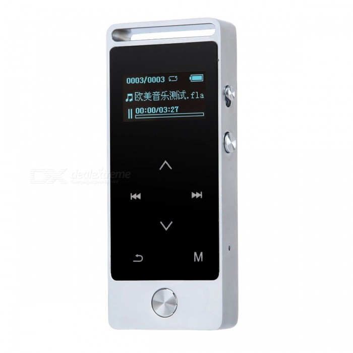 S5 Touch Screen MP3 Player 8GB Metal APE/FLAC/WAV - SilverMP3 Players<br>Form  ColorSilver (Without Bluetooth)Built-in Memory / RAM8GBModelS5Quantity1 setMaterialMetalShade Of ColorSilverScreen TypeOthers,OLEDTouch Screen TypeYesScreen Size1 inchMemory Card TypeTFMax Extended Capacity64GBAudio Compression FormatOthers,MP3 / APE /FLAC/ WAV/ WMA/OGGRecord Audio FormatMP3, WAVHeadphone Jack3.5mmWorking Time58 hourBattery TypeLi-polymer batteryPacking List1 x Earphone 1 x 8GB MP3 player 1 x USB cable1 x English user manual<br>