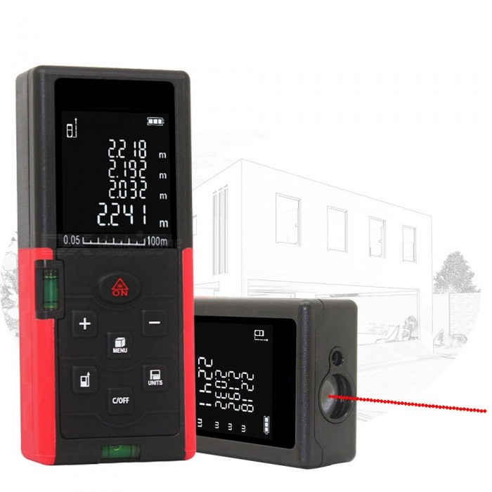 100m 1.8 LCD Laser Distance Meter Range FinderLaser Rangefinder, Electronic Distance Meter<br>Form  Color100MModel-Quantity1 DX.PCM.Model.AttributeModel.UnitMaterialABSDetection Range100mMeasuring Accuracy+/-2mmLaser LevelPowered ByAAA BatteryBattery included or notNoEnglish Manual / SpecYesPacking List1 x Laser Distance Meter1 x Portable pouch1 x Hanging rope1 x User manual<br>
