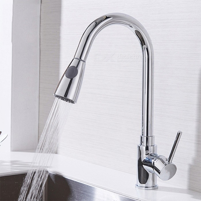 Single Hole 360 Degree Rotating Single Handle Kitchen Faucet - SilverKitchen Faucets<br>Form  ColorSilverMaterialCopper bodyQuantity1 DX.PCM.Model.AttributeModel.UnitFinishChromeValve TypeCeramic Plate SpoolNumber of handlesSingleSpout Height210 DX.PCM.Model.AttributeModel.UnitSpout Length230 DX.PCM.Model.AttributeModel.UnitTotal Height410 DX.PCM.Model.AttributeModel.UnitPacking List1 x Faucet<br>