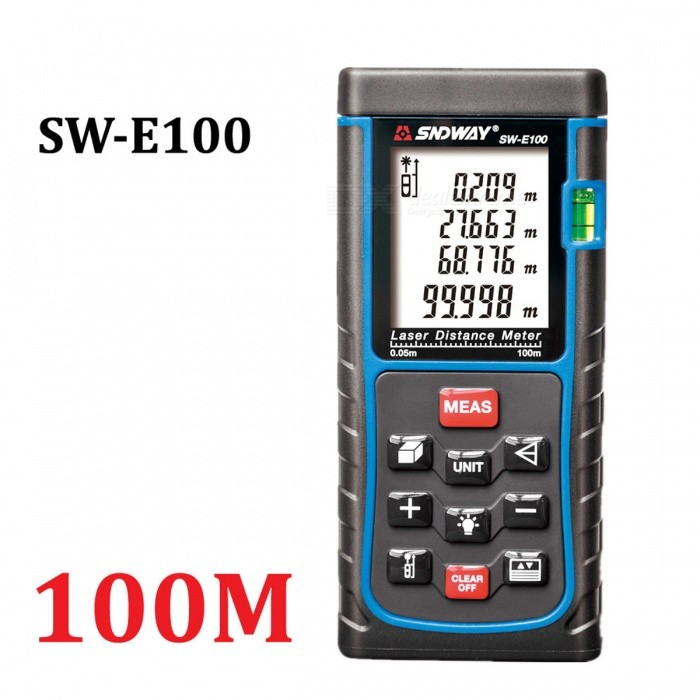 SNDWAY 100m Digital Laser Distance Meter Range FinderLaser Rangefinder, Electronic Distance Meter<br>Form  Color100MModelSW-E100Quantity1 DX.PCM.Model.AttributeModel.UnitMaterialABSDetection Range0.05~100mMeasuring Accuracy+/-1.5mmLaser LevelClass IIMax.Storage100 unitsDisplay1.8 LCDPowered ByAAA BatteryBattery included or notNoEnglish Manual / SpecYesPacking List1 * Laser distance meter (2 x AAA, not included)1 * Portable pouch1 * Hanging rope1 * User manual<br>