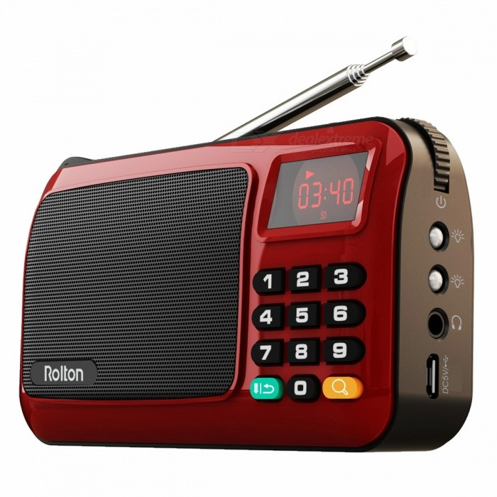 W405 Portable Mini FM Radio Speaker Music Player - RedRadios<br>Form  ColorRedModelW405Quantity1 DX.PCM.Model.AttributeModel.UnitMaterialPlasticTuner Bands88.0MHz to 108.0MHzPower3 DX.PCM.Model.AttributeModel.UnitInterface3.5mmHeadphones IncludedNoBattery Capacity1500 DX.PCM.Model.AttributeModel.UnitBattery TypeLi-ion batteryPacking List1 x Radio Speaker 1 x User manual1 x USB Cable1 x 1500mAh replaceable Battery1 x Strap<br>