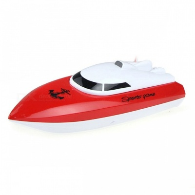 Rechargeable 4-Channel Mini RC Racing Boat - Red