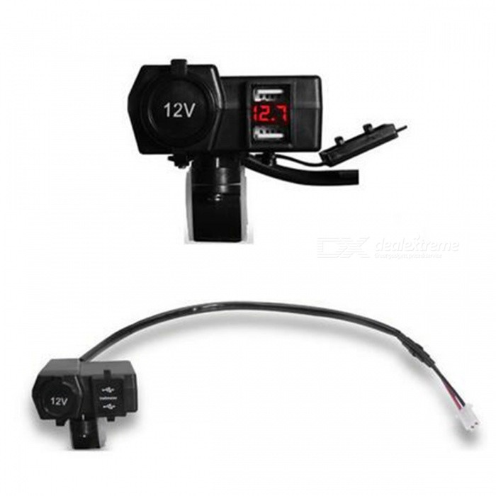 12V 24V Car Motorcycle Dual USB Charger with LED Voltmeter - RedOthers<br>Form  ColorRedQuantity1 pieceMaterialPlastic + MetalTypeOthersWaterproof FunctionYesInterfaceOthers,Waterproof cigarette lighter Socket and USB connection and integrationPacking List1 x Motorcycle Dual USB Charger<br>