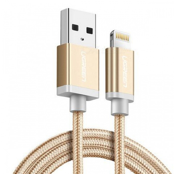 Ugreen US199 Nylon Lightning to USB Charging Data Cable - Gold (25cm)Cables<br>Form  ColorGold (25cm)ModelUS199Quantity1 pieceMaterialNylon braidedCompatible ModelsOthers,For All Apple Lightning 8 Pin DevicesFunctionCharging,Data syncConnectorUSB,Apple 8pin LightningCable LengthOthers,25 cmCertificationMFIPacking List1 x MFI lightning cable<br>