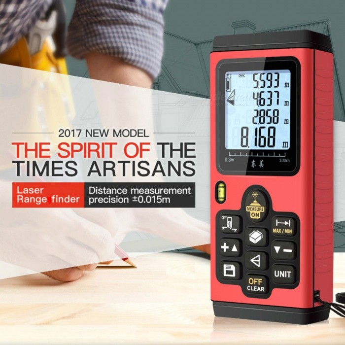 100m Digital Laser Distance Meter Range FinderLaser Rangefinder, Electronic Distance Meter<br>Form  Color100MModelN/AQuantity1 DX.PCM.Model.AttributeModel.UnitMaterialABSDetection Range0.015~100mMeasuring Accuracy+/-1.5mmLaser LevelClass IIMax.Storage20 unitsPowered ByAAA BatteryBattery included or notNoPacking List1 x Laser distance meter (2 * AAA, not included)<br>