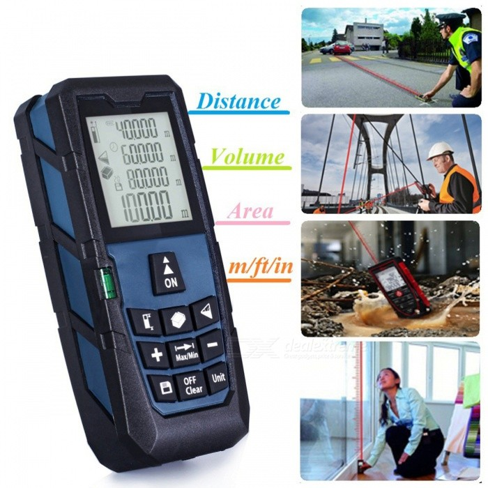 100m Digital Laser Distance Meter Range FinderLaser Rangefinder, Electronic Distance Meter<br>Form  Color100MModelN/AQuantity1 DX.PCM.Model.AttributeModel.UnitMaterialABSDetection Range0.2~100mMeasuring Accuracy+/-1.5mmLaser Level635nm, Max.Storage20 unitsPowered ByAAA BatteryBattery included or notNoEnglish Manual / SpecYesPacking List1 x Laser Distance meter (Dark Blue Color)1 x Users Manual1 x Carry bag1 x Holding rope<br>