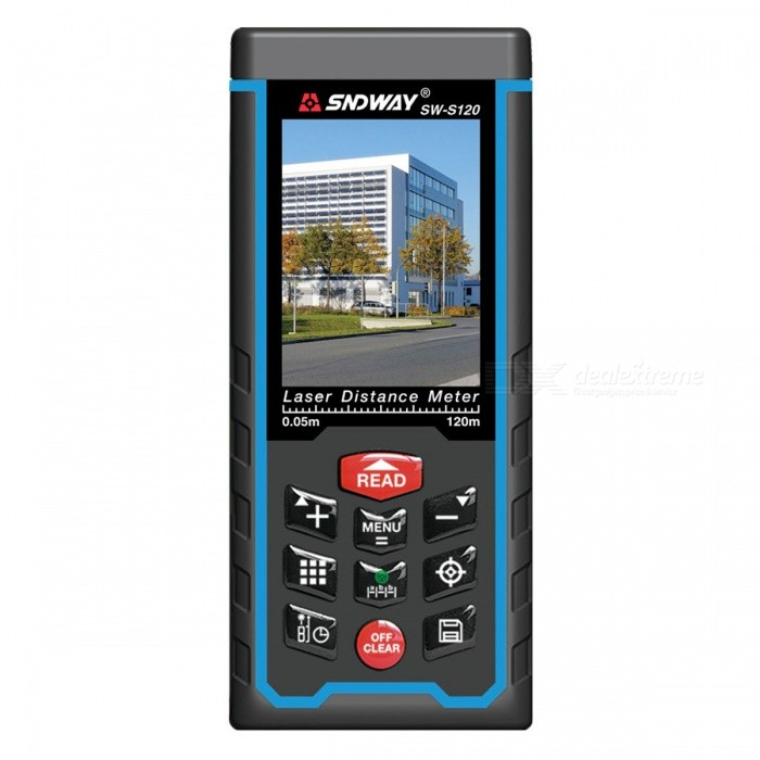SNDWAY 120m Laser Distance Meter Range FinderLaser Rangefinder, Electronic Distance Meter<br>Form  Color120MModelSW-S120Quantity1 DX.PCM.Model.AttributeModel.UnitMaterialABSDetection Range0.05~120mMeasuring Accuracy+/-2mmLaser Level635nm, Max.Storage100 unitsPowered ByAAA BatteryBattery included or notYesEnglish Manual / SpecYesPacking List1 x Laser Distance Meter 1 x Pouch Bag 1 x Wrist Strap 1 x USB Charging cable 1 x USB disc1 x English User Manual 3 x Rechargeable batteries 1 x Retail box1 x Reflevtive board<br>