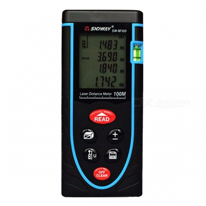 SNDWAY 100m Digital Laser Distance Meter RangefinderLaser Rangefinder, Electronic Distance Meter<br>Form  Color100MModelSW-M100Quantity1 DX.PCM.Model.AttributeModel.UnitMaterialABSDetection Range0.05~100mMeasuring Accuracy+/-1.5mmLaser LevelClass IIPowered ByAAA BatteryBattery included or notNoEnglish Manual / SpecYesPacking List1 x Laser distance meter (2 x AAA, not included)1 x User manual1 x Pouch bag1 x Holding rope<br>