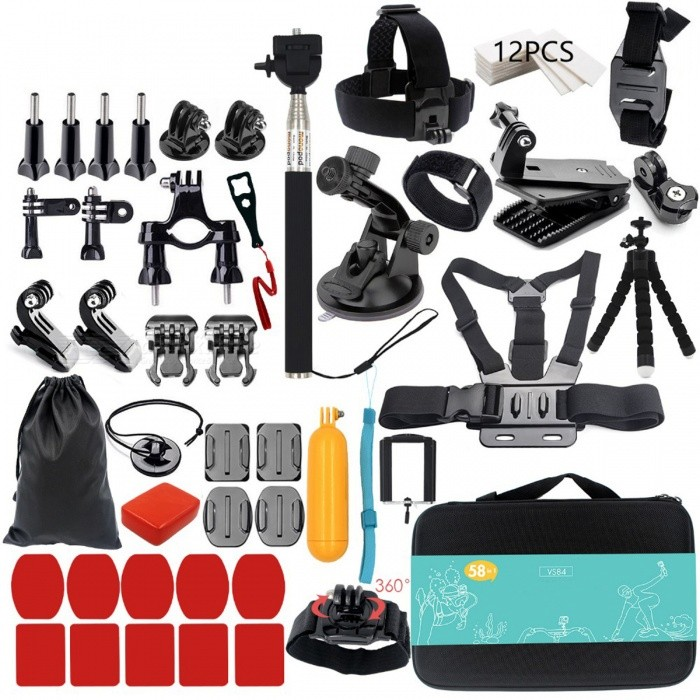 Go Pro Hero 5 4 3 Mount Monopod Kit - VS84Other GoPro Accessories<br>Form  ColorVS84Quantity1 DX.PCM.Model.AttributeModel.UnitMaterialPlasticShade Of ColorBlackPacking List1 x Monopod (VS84)1 x Large Collection Box1 x Head Strap1 x Chest Strap1 x 360 Degree rotation Clip1 x Helmet Belt1 x Octopus Tripod1 x Storage Bag1 x Floaty Sponge1 x Floaty Bobber1 x Phone Clip1 x Suction Cup1 x Wrist Strap12 x Anti-fog inserts1 x 360 Degree Rotation Wrist Strap1 x Safety Buckle2 x Curved Surface Mount Base2 x Flat Surface Mount Base5 x Adhesive Pads for Curved Mount5 x Adhesive Pads for Flat Mount4 x Screw2 x Adapter1 x long Straight Joints with Screw1 x Short Straight Joints with Screw1 x Bicycle Roll Bar mount1 x Wrench2 x J Hook Buckles2 x Quick release Mount Bases1 x Tripod Mount<br>