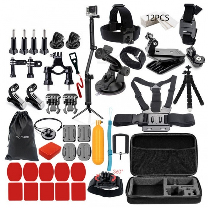 Go Pro Hero 5 4 3 Mount 3-Way Monopod Kit - VS84BOther GoPro Accessories<br>Form  ColorVS84BQuantity1 DX.PCM.Model.AttributeModel.UnitMaterialPlasticShade Of ColorBlackPacking List1 x 3 Way Monopod (VS84B)1 x Large Collection Box1 x Head Strap1 x Chest Strap1 x 360 Degree rotation Clip1 x Helmet Belt1 x Octopus Tripod1 x Storage Bag1 x Floaty Sponge1 x Floaty Bobber1 x Phone Clip1 x Suction Cup1 x Wrist Strap12 x Anti-fog inserts1 x 360 Degree Rotation Wrist Strap1 x Safety Buckle2 x Curved Surface Mount Bases2 x Flat Surface Mount Bases5 x Adhesive Pads for Curved Mount5 x Adhesive Pads for Flat Mount4 x Screws2 x Adapters1 x Long Straight Joint with Screw1 x Short Straight Joint with Screw1 x Bicycle Roll Bar mount1 x Wrench2 x J Hook Buckles2 x Quick release Mount Bases1 x Tripod Mount<br>
