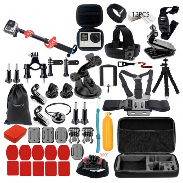 Go Pro Hero 5 4 3 Mount Kit with Dotted Texture Monopod - VS77BOther GoPro Accessories<br>Form  ColorVS77BQuantity1 DX.PCM.Model.AttributeModel.UnitMaterialPlasticShade Of ColorBlackPacking List1 x Dotted Texture Monopod (VS77B)1 x Large Collection Box1 x Head Strap1 x Chest Strap1 x 360 Degree rotation Clip1 x Helmet Belt1 x 360 Degree Rotation Wrist Strap1 x Remote Control Wrist Strap1 x Bicycle Roll Bar mount1 x Octopus Tripod1 x Storage Bag1 x Floaty Sponge1 x Floaty Bobber1 x Phone Clip1 x Suction Cup1 x Mini Camera Box 12 x Anti-fog inserts1 x Safety Buckle2 x Curved Surface Mount Bases2 x Flat Surface Mount Bases5 x Adhesive Pads for Curved Mount5 x Adhesive Pads for Flat Mount7 x Screws2 x Adapters1 x Long Straight Joint1 x Short Straight Joint1 x Wrench2 x J Hook Buckles2 x Quick Release Mount Bases<br>