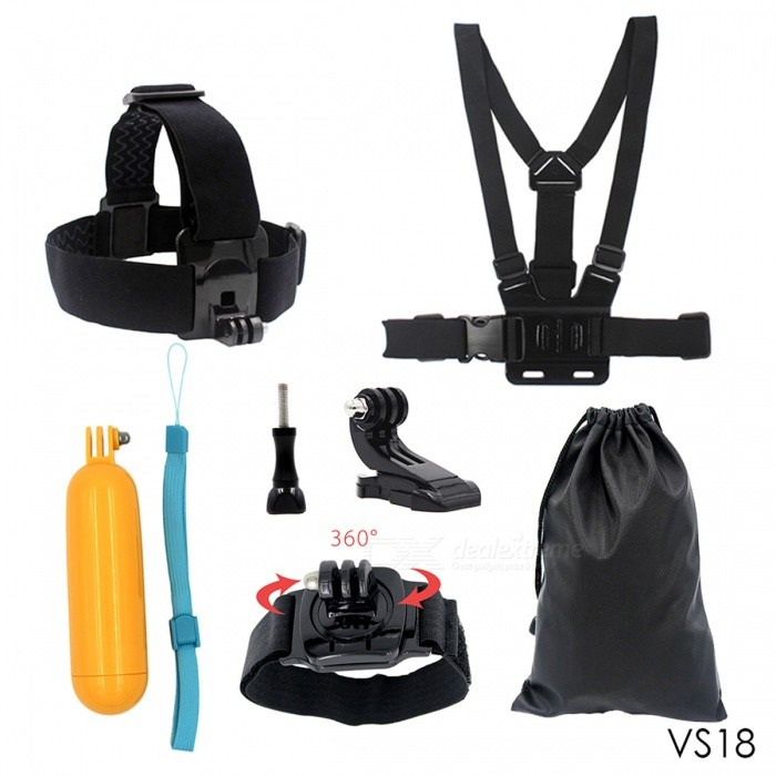 Chest Strap, Floaty Bobber, Monopod, Head Belt for Sports CameraOther GoPro Accessories<br>Form  ColorBlackQuantity1 DX.PCM.Model.AttributeModel.UnitMaterialPlasticShade Of ColorBlackPacking List1 x Head strap1 x Chest strap1 x Floaty Bobber1 x J-Hook Bucker1 x Screw1 x Storage bag1 x 360 degree wrist strap<br>