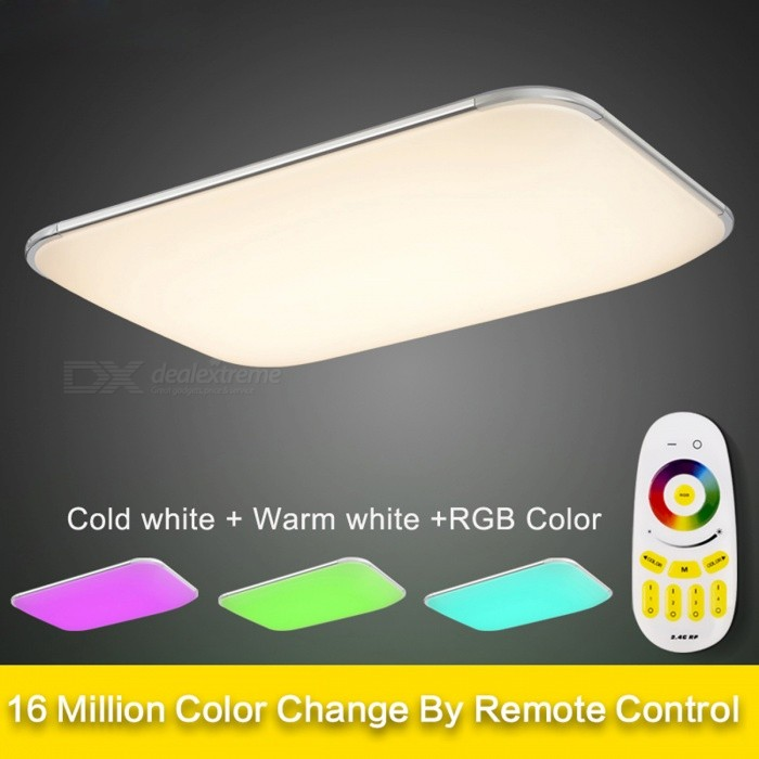 36W 2.4G RF Remote Group Controlled Dimmable RGB LED Ceiling LightCeiling Light<br>Form  ColorWhiteColor BIN93*65CM RC RGB 72WQuantity1 DX.PCM.Model.AttributeModel.UnitMaterialStainless Steel+PVCPower36WRated VoltageOthers,AC90-265 DX.PCM.Model.AttributeModel.UnitEmitter TypeLEDTotal Emitters20Actual LumensN/A DX.PCM.Model.AttributeModel.UnitColor Temperature12000K,Others,2800-6500KDimmableYesBeam Angle120 DX.PCM.Model.AttributeModel.UnitPacking List1 x RC Remote Controller1 x LED Ceiling Light<br>