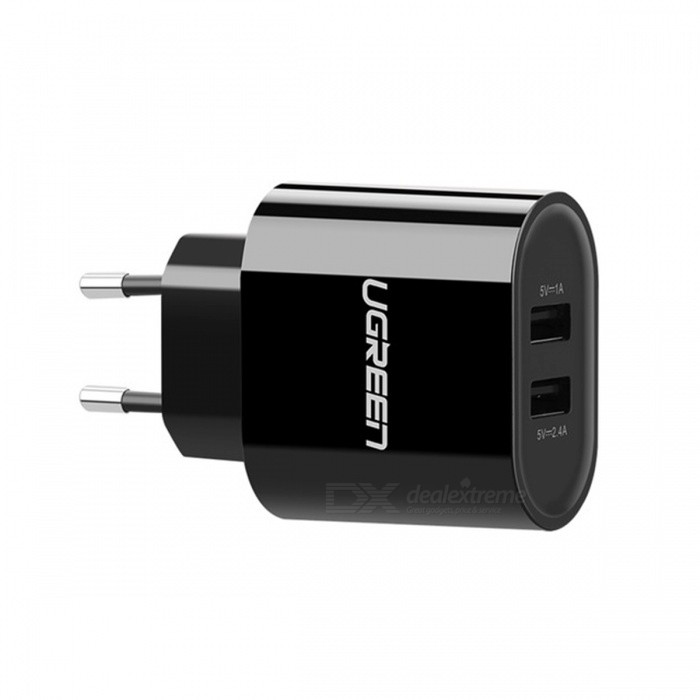 Ugreen Universal Portable Dual USB Wall Charger - Black (EU Plug)AC Chargers<br>Form  ColorBlack (EU Plug)ModelCD104MaterialABS + PCQuantity1 DX.PCM.Model.AttributeModel.UnitCompatible ModelsUniversalInput VoltageAC10~240 DX.PCM.Model.AttributeModel.UnitOutput Current5V/2.4A <br>5V/1 DX.PCM.Model.AttributeModel.UnitOutput Voltage5 DX.PCM.Model.AttributeModel.UnitSplit adapter number2Power AdapterEU PlugLED IndicatorNoCable LengthN/A DX.PCM.Model.AttributeModel.UnitCertificationFCC,RoHS,ULPacking List1 x USB Charger<br>