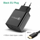 Ugreen CD122 QC3.0 USB Charger Adapter with 1m Type-C Cable - Black