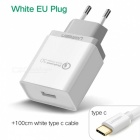 Ugreen CD122 QC3.0 USB Charger Adapter with 1m Type-C Cable - White