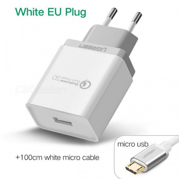 Ugreen CD122 QC3.0 USB Charger Adapter with 1m Micro USB Cable - WhiteAC Chargers<br>Form  ColorWhite (Micro USB)ModelCD122MaterialFireproof PC + ABSQuantity1 DX.PCM.Model.AttributeModel.UnitCompatible ModelsSmartphones and tabletsInput VoltageAC100-240 DX.PCM.Model.AttributeModel.UnitOutput CurrentDC 3.6V-6.5V/3A ; 6.5V-9V/2A ; 9V-12V/1.5 DX.PCM.Model.AttributeModel.UnitSplit adapter number1Power AdapterEU PlugQuick ChargeQC3.0, Compatible QC2.0LED IndicatorNoCable Length100 DX.PCM.Model.AttributeModel.UnitCertificationFCC,CE,RoHSPacking List1 x Charger 1 x Cable<br>