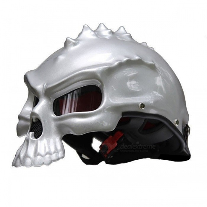 Dual Use Skull Half Face Motorcycle Helmet - Silver (L)Goggles &amp; Helmet<br>Form  ColorSilverSizeLQuantity1 DX.PCM.Model.AttributeModel.UnitMaterialABSShade Of ColorSilverTypeHelmetPacking List1 x Helmet<br>
