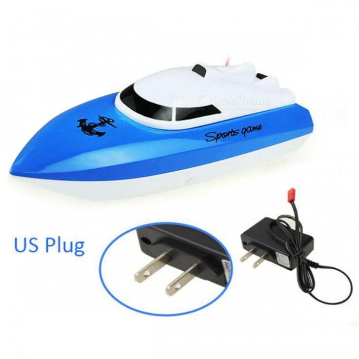 Radio Control RC 4 CH Waterproof Mini Speed Boat Airship - Blue/USR/C Boats<br>Form  ColorBlue (US Plug)ModelN/AMaterialPlastic + MetalQuantity1 DX.PCM.Model.AttributeModel.UnitShade Of ColorBlueTypeYachtScaleOtherChannels Quanlity4 DX.PCM.Model.AttributeModel.UnitFunctionOthers,Forward, Reverse, Turn Left, Turn RightRemote control frequencyOthers,27MHz / 40MHz / 49MHzRemote Control Range20 DX.PCM.Model.AttributeModel.UnitSuitable Age 8-11 years,12-15 years,Grown upsCameraNoLamp NoBattery TypeOthers,Charging BatteryBattery Capacity/ DX.PCM.Model.AttributeModel.UnitCharging Time60 DX.PCM.Model.AttributeModel.UnitWorking Time8-10 DX.PCM.Model.AttributeModel.UnitRemote Control TypeWirelessModelMode 2 (Left Throttle Hand)Remote Controller Battery TypeAARemote Controller Battery Number2 (not included)Packing List1 x RC Racing Boat (The same color is the same frequency, so it cannot be used together)1 x Remote Controller1 x Charging Battery1 x Charger1 x Instruction Manual<br>