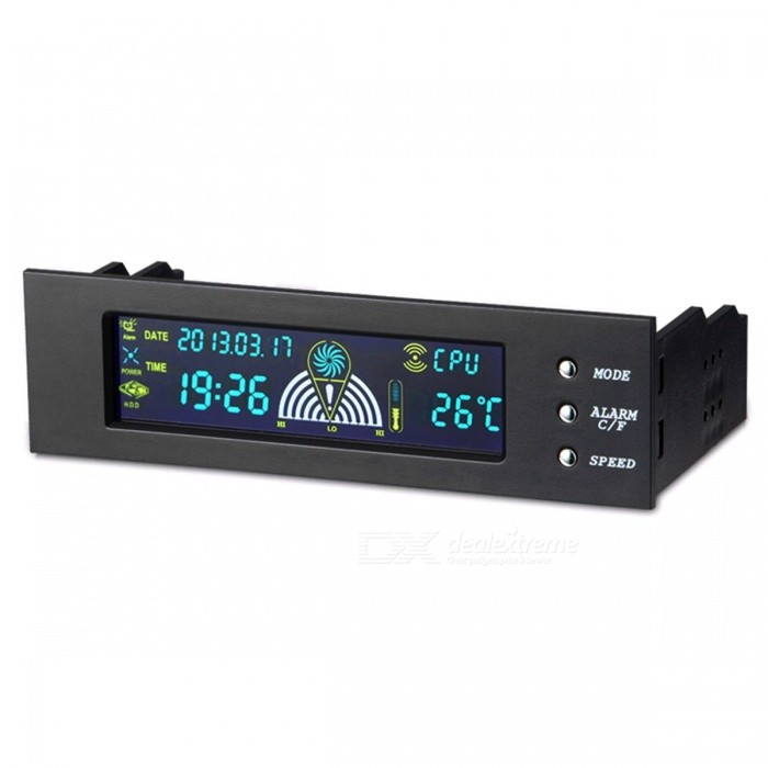 "5.25"" Front LCD Panel 3 Fan Speed Controller w/ CPU Temperature Sensor"
