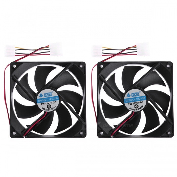 120x120x25mm 4Pin DC 12V Brushless PC Computer Cooling Fan (2PCS)Hardware Cooling Gears<br>Form  ColorBlackQuantity1 DX.PCM.Model.AttributeModel.UnitShade Of ColorBlackMaterialPlasticPacking List2 x Cooling Fans<br>