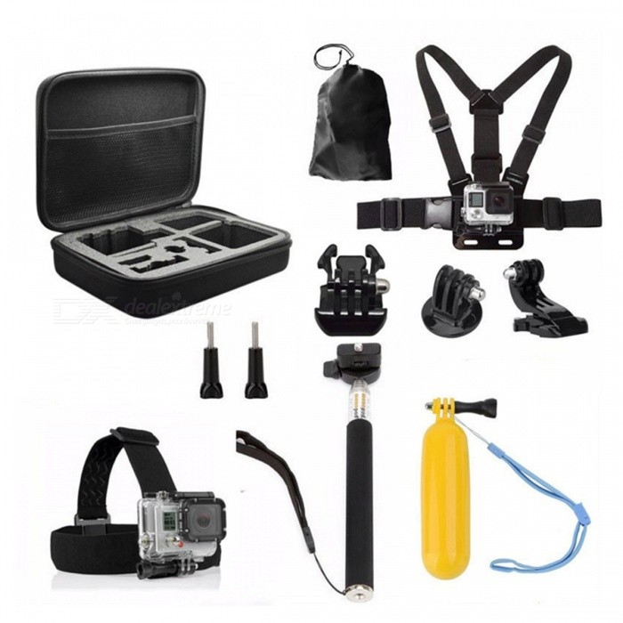 Storage Bag Case, Chest Strap 11-in-1 Kit for GoproOther GoPro Accessories<br>Form  ColorBlackQuantity1 DX.PCM.Model.AttributeModel.UnitMaterialPlasticShade Of ColorBlackPacking List1 x Medium ShockProof Carry Case (Size : 22.5*17.5*6.7CM)1 x Outdoor Storage Bag1 x Chest Strap 1 x Head Strap 1 x Extendable Handheld Monopod 1 x Floating Handle Grip 1 x J-hook Buckle 1 x Tripod/Monopod Adapter 2 x Long Screws1 x Black Buckel Basic Mount<br>