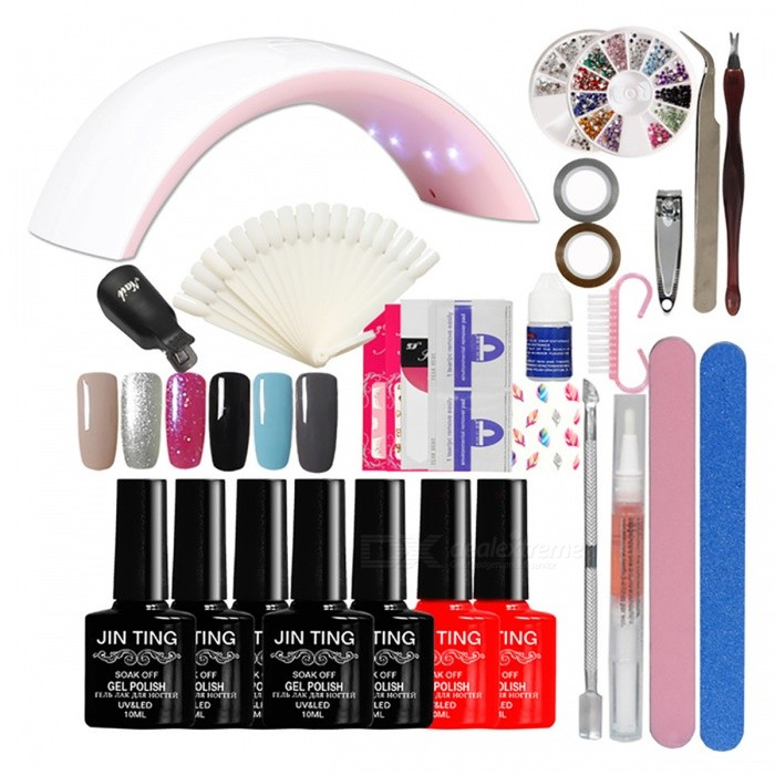 Nail Art Full Manicure Tool Set to Beginner - EU Plug (Color No. 02)Nail Care and Art<br>Form  ColorColor No. 02ModelN/AMaterialN/AQuantity1 DX.PCM.Model.AttributeModel.UnitShade Of ColorMulti-colorPacking List1 x 24W Led lamp 6 x High quality Gel polish1 x Dead skin pusher2 x Longer(100*180) buffer 1 x Soak off Base gel polish1 x Soak off Top coat gel polish2 x Fashion Nail Sticker1 x Cuticle Oil (Random Smell)1 x 10Pair Nail polish Remover1 x 3 Sheet French Tips1 x Nail clippers1 x 3g Nail Glue1 x Nail Display Card1 x 2 Pieces Striping Tape Line10 x Black color Remover Wrap 1 x Nail Nipper<br>