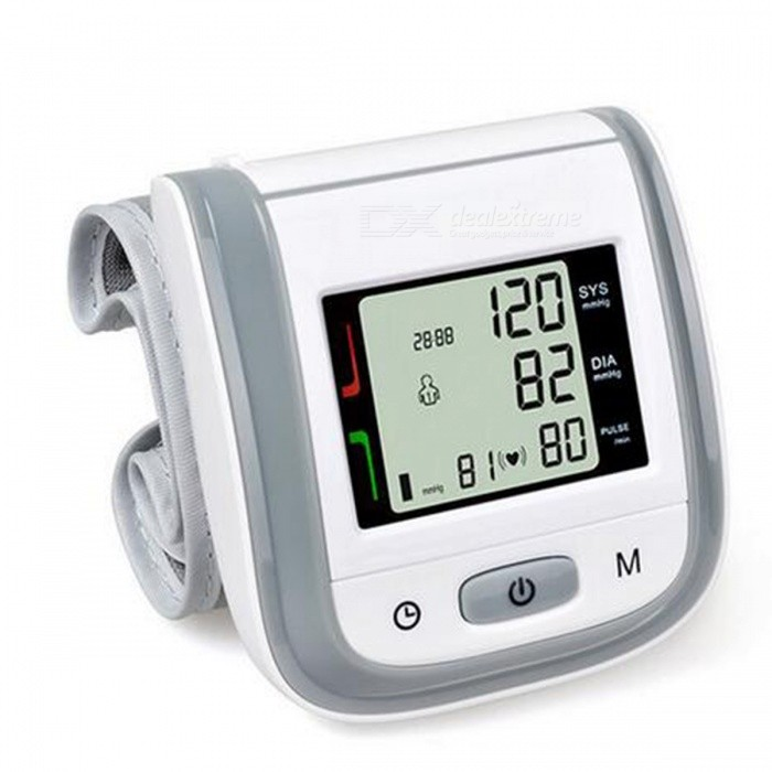 Home Health Care Automatic Wrist Blood Pressure Monitor - GrayBlood Pressure Meters<br>Form  ColorGreyModelYK-BPWMaterialABSQuantity1 DX.PCM.Model.AttributeModel.UnitShade Of ColorGrayDisplayLEDMeasuring MethodAutomaticDetection Range-Pressure Accuracy-Average Value-Voice FunctionNoPulse Accuracy-Exhausting Method-Mode of Operation-Pressure Way-Mode MemoryYesNumber of Memory99Pulse Rate-Arm Sling Size19.5 DX.PCM.Model.AttributeModel.UnitAir Tube Length0 DX.PCM.Model.AttributeModel.UnitPowered ByAAA BatteryBattery included or notNoBattery Number2Other FeaturesWorking Voltage: 3V ( AAA * 2 );<br>For wrist circumference range:13.5cm-19.5cm;Packing List1 x Blood pressure monitor1 x Instruction<br>