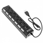 7-Port High Speed USB Hub with On Off Switch - Black