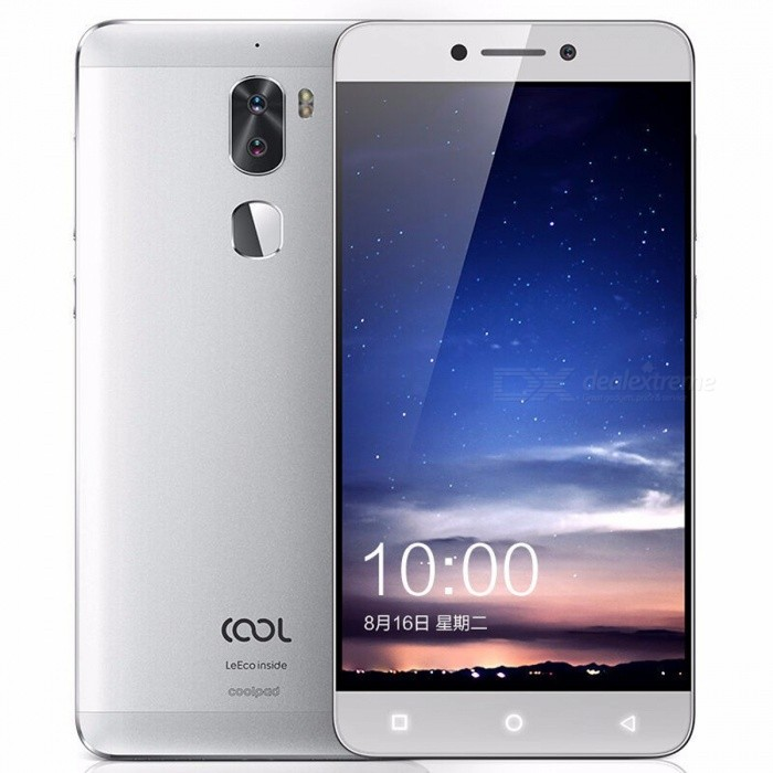 Letv Coolpad Cool 1  Android 6.0 4G Phone with 3GB, 32GB - SilverAndroid Phones<br>Form  ColorSilverRAM3GBROM32GBBrandOthers,LetvModelCool 1Quantity1 DX.PCM.Model.AttributeModel.UnitMaterialMetalShade Of ColorSilverTypeBrand NewPower AdapterUS PlugNetwork Type2G,3G,4GBand Details4G: FDD-LTE, Band 1 (2100MHz), Band 3 (1800MHz), Band 5 (850MHz), Band 7 (2600MHz), Band 8 (900MHz), TD-LTE, Band 38(2570-2620), Band 39(1880-1920), Band 40(2300-2400), Band 41(2555-2575) 3G: Band 1 (WCDMA 2100MHz), Band 2 (WCDMA 1900MHz), Band 5 (WCDMA 850MHz), Band 8 (WCDMA 900MHz), TD-SCDMA B34/B39 2G: GSM 850MHz, GSM 900MHz, GSM 1800MHz, GSM 1900MHzData TransferGPRS,LTEWLAN Wi-Fi 802.11 a,b,g,n,acSIM Card TypeNano SIMSIM Card Quantity2Network StandbyDual Network StandbyNFCNoInfrared PortNoBluetooth VersionBluetooth V4.1Operating SystemAndroid 6.0CPU ProcessorSnapdragon 652 Octa-CoreCPU Core QuantityOcta-CoreGPUAdreno 510LanguageEnglish Simplified Chinese, Traditional ChineseAvailable Memory32GBSize Range5.5 inches &amp; OverTouch Screen TypeIPSScreen Resolution1920*1080Multitouch8Screen Size ( inches)5.5Screen Edge2.5D Curved EdgeCamera type3 x CamerasCamera PixelOthers,13.0MP + 13MP Dual LensFront Camera Pixels8.0 DX.PCM.Model.AttributeModel.UnitFlashYesTouch FocusYesOther Camera FunctionsHDR, Panorama, Auto-focusing, Filters, Dual Tone LED Flash, Continuous shot, Facial Beautification<br>Aperture: ?/2.0, ?/2.4Talk Time9 DX.PCM.Model.AttributeModel.UnitStandby Time400 DX.PCM.Model.AttributeModel.UnitBattery Capacity4060 DX.PCM.Model.AttributeModel.UnitBattery ModeNon-removablefeaturesWi-Fi,GPS,FM,BluetoothSensorG-sensor,Proximity,Compass,Fingerprint authentication sensor,Others,Light SensorWaterproof LevelIPX0 (Not Protected)Dust-proof LevelNoI/O Interface3.5mm,USB Type-cFormat SupportedFLAC/APE/AAC/MKA/OGG/MIDI/M4A/AMRJAVANoTV TunerNoRadio TunerFMWireless ChargingNoReference Websites== Will this mobile phone work with a certain mobile carrier of yours? ==Packing List1 x Mobile Phone1 x