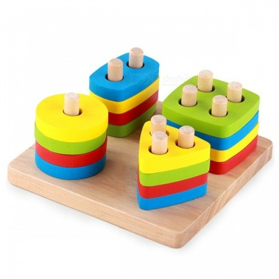 Montessori Wooden Geometric Sorting Board Blocks Toy for Baby
