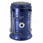 6-LED Solar Power Collapsible Flashlight Searchlight - Blue